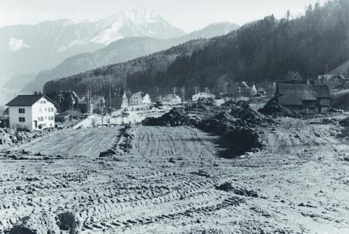 Die Autobahnbaustelle im jahr 1954.