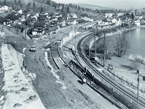 Bau der Autobahn, 1954.
