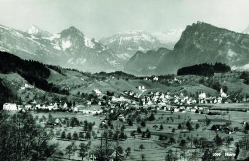 Der Horwer Talboden in Blickrichtung Bürgenstock, 1940
